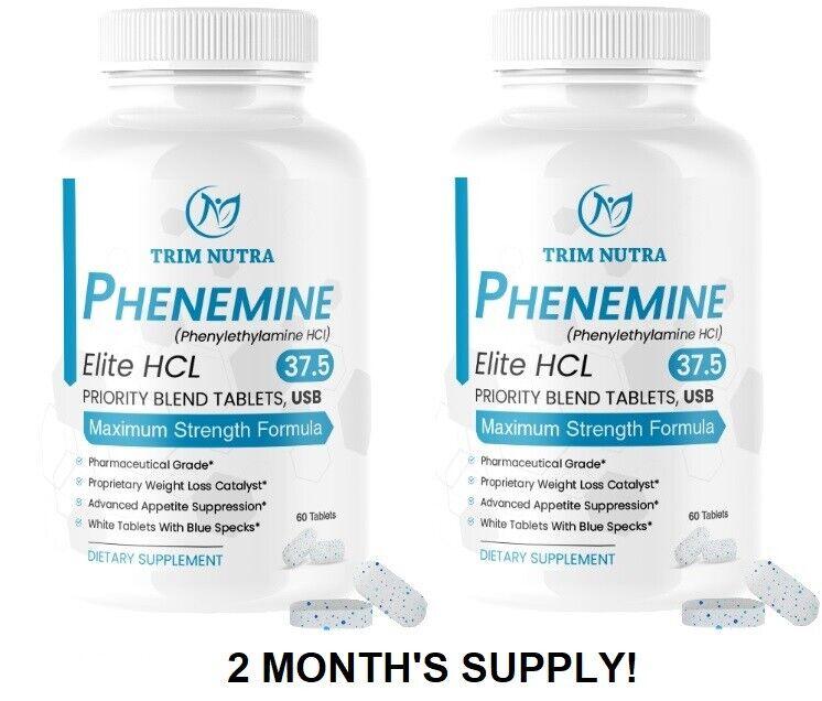 2 Month Phenemine Elite 37.5 White/Blue Best Fat Burners Slimming Diet Pills 375