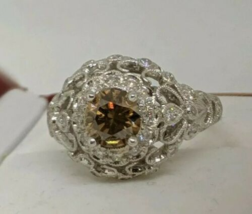 18K GIA CERTIFIED NATURAL 1.20 CARAT FANCY ORANGE BROWN DIAMOND RING