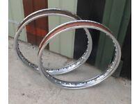Genuine Dunlop 19in steel wheel rims to fit classic Norton etc.