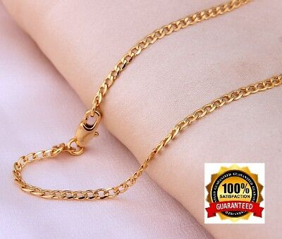 Cuban Style Curb Chain Necklace (18k Gold Necklace Womens Mens Cuban Curb  Link Style Chain 30