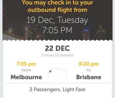 Tiger Flight MELBOURNE to BRISBANE 22/12/2017