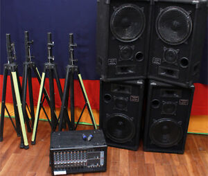 4 Speaker PA System with Powered Mixer
