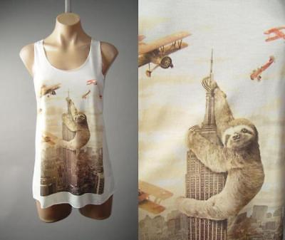 Sloth King Kong Empire State Building Meme Graphic Tank Top 236 mv Shirt S M L - Top Empire State