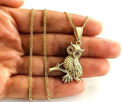 "18K GOLD FILLED OWL NECKLACE 18"" LONG / CADENA DE BUHO 18"" LARGO - P78-1"
