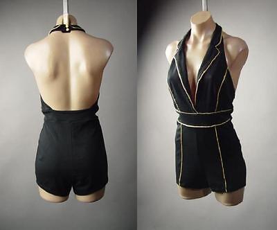Black Gold Tux Tuxedo Halter Collar Open Back Dress Short Playsuit 235 mv Romper
