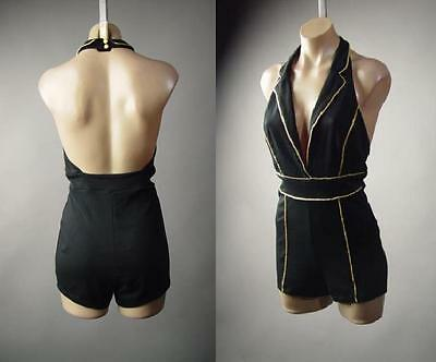 o Halter Collar Open Back Dress Short Playsuit 235 mv Romper (Gold Tux)