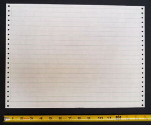 Vintage tractor-feed lined 15 x 11-inch paper for line printer