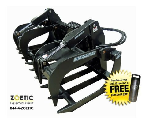 Blue Diamond Skid Steer Severe-duty Root Grapple Attachment, 84""