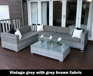 WICKER LOUNGE SETTING EUROPEAN STYLED, AGED GREY BRAND NEW