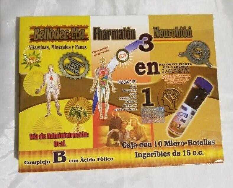 BEDOYECTA / NEUROBION / FHARMATON 10 Ampolletas  10 Microbotellas de 15 ml