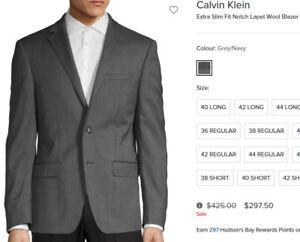Neuf Calvin Klein Blazer SUIT Jacket VESTON 42 Long/tall