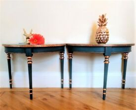 Pair of Small Demi Lune tables in Dark Blue/Rose Gold Leaf for Bedside/Hall
