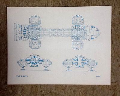 Original 1980s Space:1999 Eagle Blueprint Set-2 Fold Out Sheets/Envelope (M5938)