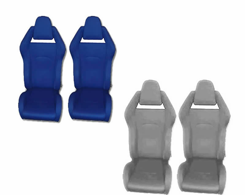 PAIR OF SPORTS RACING RALLY SEAT BUCKET FABRIC SEAT ITALIAN BLUE GREY RACE CHAIR