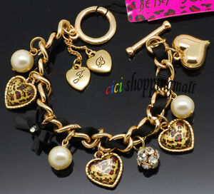 Betsey Johnson leopard heart bow pearl crystal ball bracelet, new