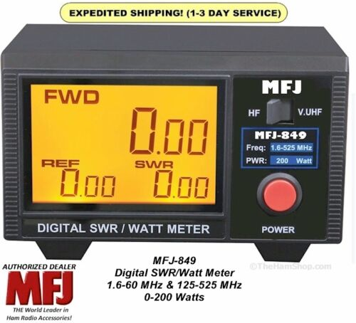 MFJ 849 Digital SWR Power Wattmeter 1.6-60 & 125-525 MHZ 200 Watts