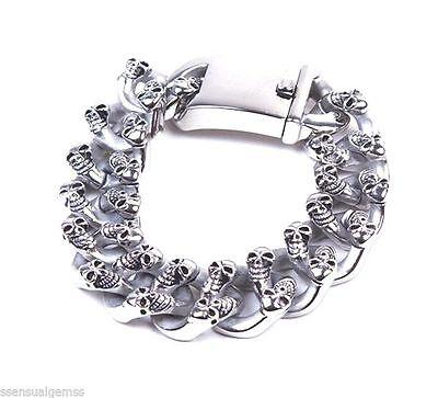"""New Men's Stainless Steel Skull Bracelet Chain Biker Wide Link 9"""""""