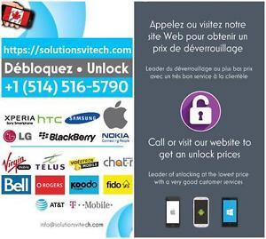 Débloquer, Dévérouiller, Unlock, Cellulaire Apple, Samsung, LG, Blacberry etc.. SolutionsViTech - Entreprisse Quebecoise