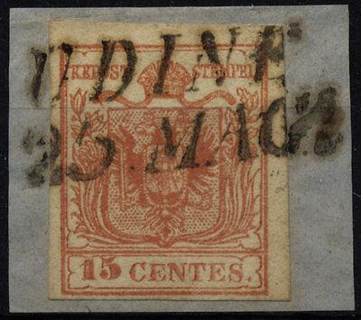 LOMBARDEI-VENETIEN 1850 15C, MP, Type III. UDINE. Schönes Stück!