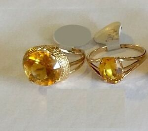 14KT YELLOW GOLD CITRINE AND DIAMOND RING London Ontario image 1
