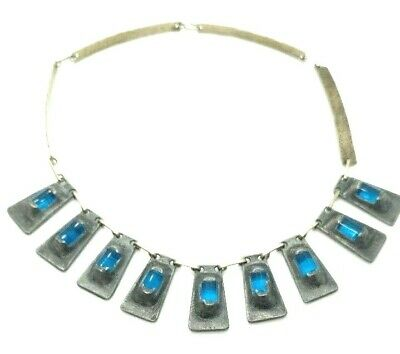 METAL AND BLUE GLASS NECKLACE - 13