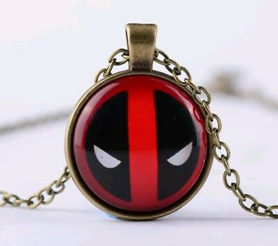 Deadpool Glow In Dark Glass Necklace Chain Pendant Charm Comic Movie Gift