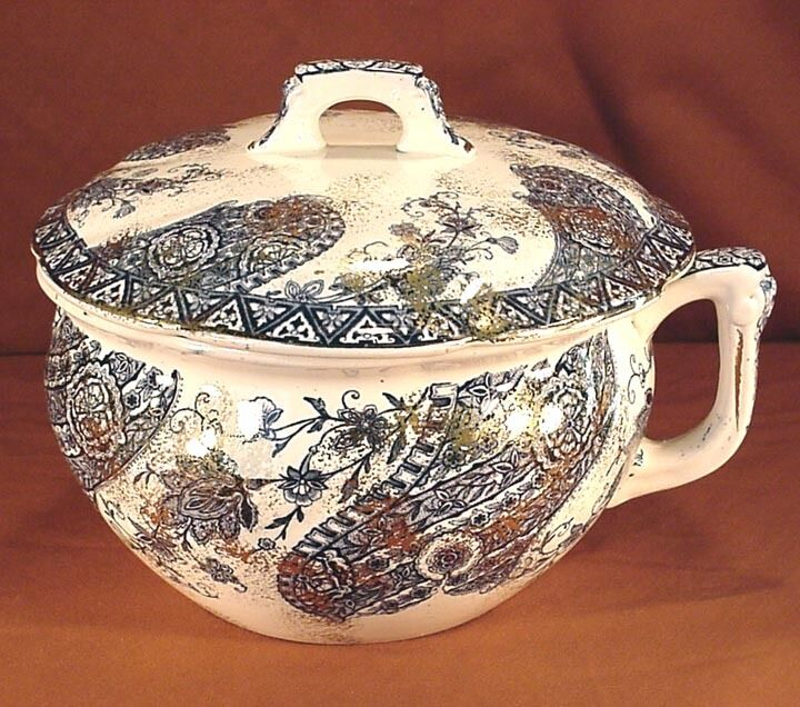 """T. FURNIVAL & SONS PAISLEY 9"""" CHAMBER POT w/ LID"""