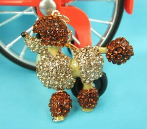 Gold-Poodle-Dog-Lovely-Charm-Pendent-Swarovski-Crystal-Purse-Bag-Key-Chain-Gift