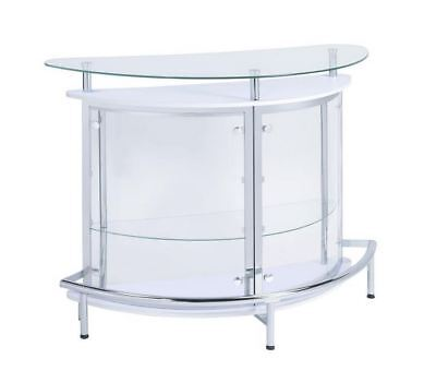 2-Tier Bar Table Unit in White And Chrome