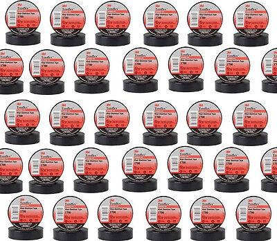 "400 Rolls 4 Cases of 100 rolls 3M 1700 TEMFLEX BLACK 3/4"" VINYL ELECTRICAL TAPE"