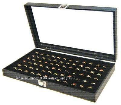 Glass Top Lid 72 Ring Black Showcase Jewelry Display Storage Organizer Box Case