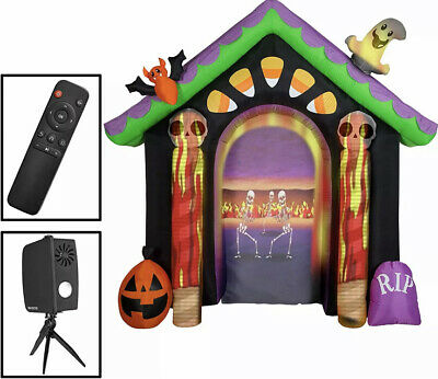 Haunted House Archway Living Projection Inflatable Projector Ghost bat Halloween