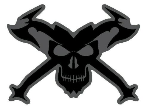 Black Reflective Skull and Crossed Axes Fire Helmet Decal Firefighter EMS