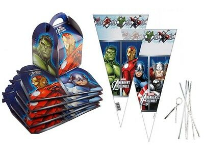 Marvel Avengers Party Food Boxes With Matching Cone Sweet Loot Favour Bags & Tie (Avengers Party Boxes)