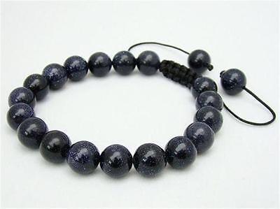 - 100%Genuine natural  Men's  bracelet all 10mm blue goldstone stone beads 7.5