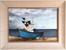 Original Acrylic Painting titled 'Fishing Boat, Lowestoft' by Alannah Wilkins