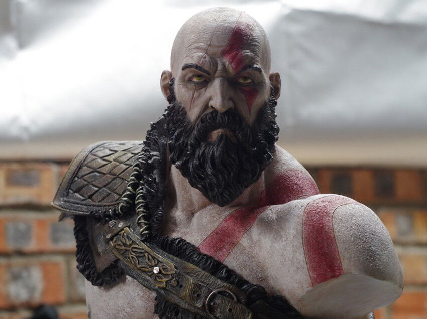 Details About God Of War 1 3 Scale Aged Kratos Limited Painted Bust Statue Model In Stock