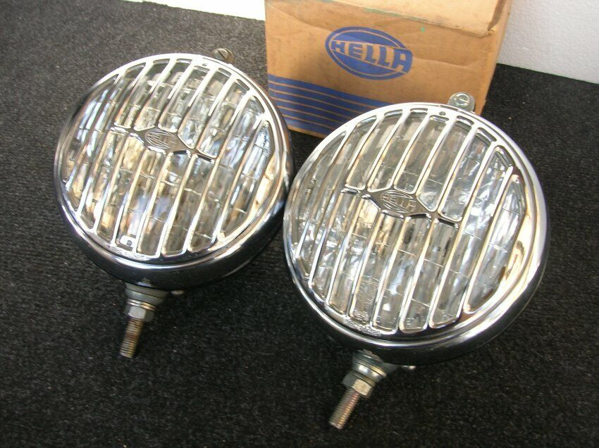 GRILLED HELLA CHROME FOG LIGHT VINTAGE CAR ACCESSORY VW PORSCHE 356 MB RALLY NOS