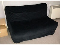 Two seat sofa bed COVER ONLY black. iKEA Lycksele Murbo COVER