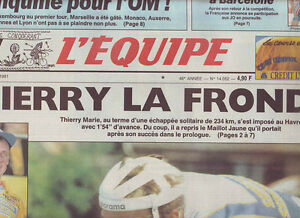 journal l 39 equipe 12 07 91 cyclisme tour de france 1991 thierry marie. Black Bedroom Furniture Sets. Home Design Ideas