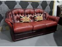 Fantastic Chesterfield 3 Seater Sofa in Oxblood Red Leather Project - UK Delivery