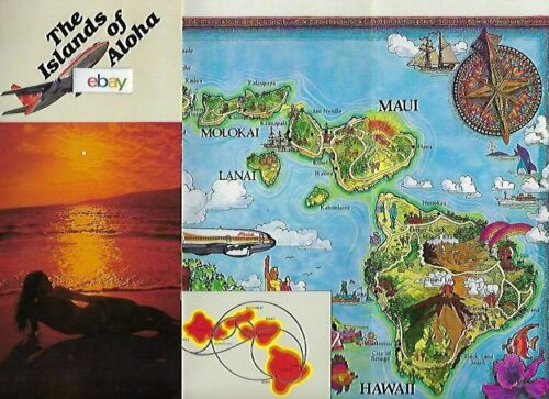 ALOHA AIRLINES MAP OF THE ISLANDS OF HAWAII 737 FLOWER POWER JET WAIKIKI MAP