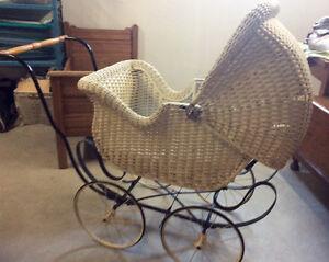 White wcker baby carriage Kingston Kingston Area image 1