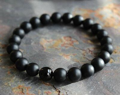 Mens Matte Black Onyx Yoga Energy Beaded Bracelet Boyfriend Gift for Him Jewelry ()