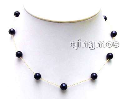 """SALE 14K gold Floating AAA round 7-8mm Natural Black FW pearl 16"""" necklace-n5894"""