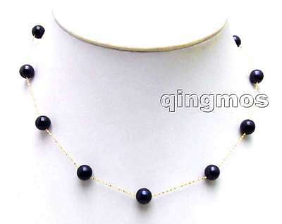 """SALE 14K gold Floating AAA round 6-7mm Natural Black FW pearl 18"""" necklace-n5894"""