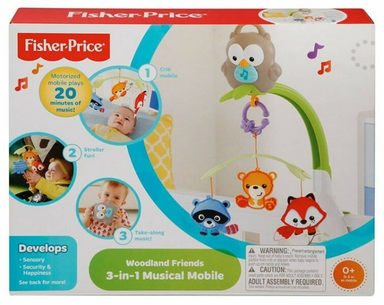 BNIB: Fisher Price Woodland Friends 3-in-1 Musical Mobile