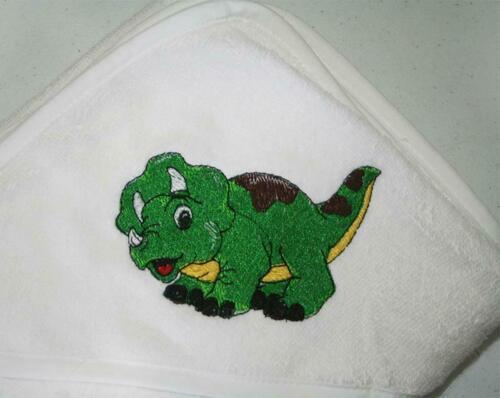 Personalized Monogrammed Hooded White Baby Towel -Dinosaur- Girl or Boy
