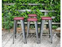 Industrial Vintage 4 Retro Tolix French style metal bar stools