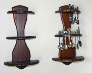 Pair Walnut-colour Spoon Collection Display